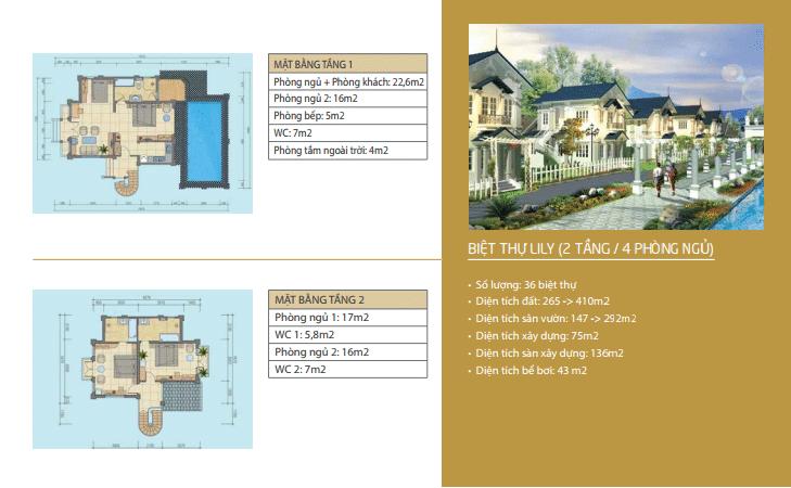 Biệt thự Lily 2 tầng 4 phòng ngủ tầng dự án Vườn Vua Resort Phú Thọ