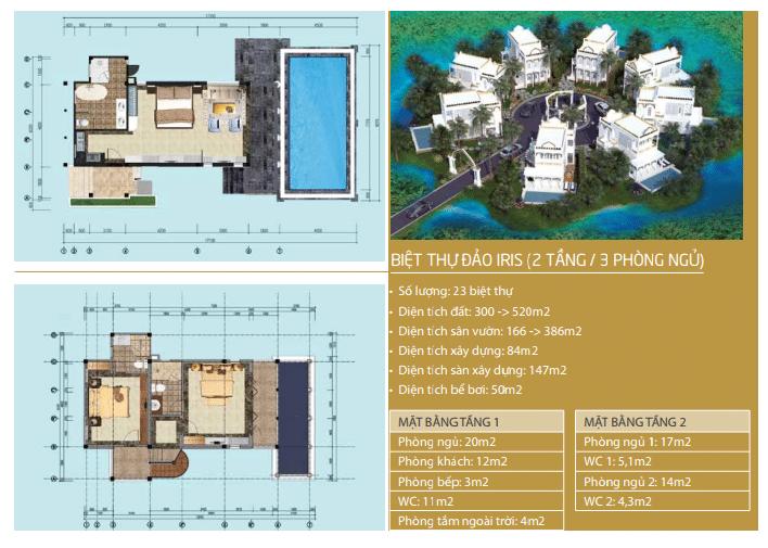 Biệt thự Iris 2 tầng 3 phòng ngủ dự án Vườn Vua Resort Phú Thọ