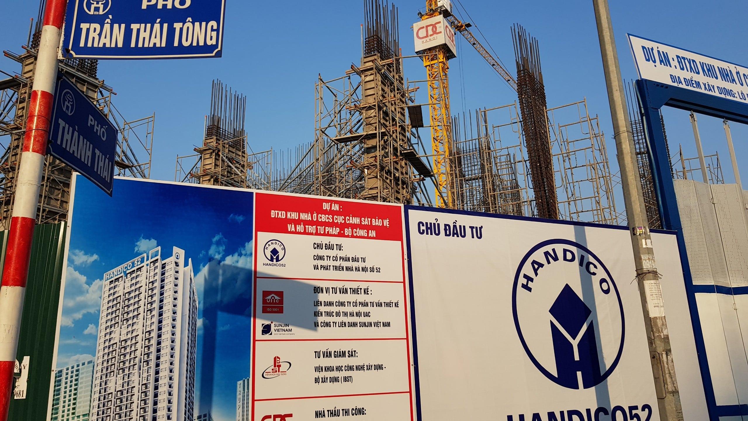 Công trường Dự án Chung cư Cảnh sát Bảo vệ Handico 52 Trần Thái Tông