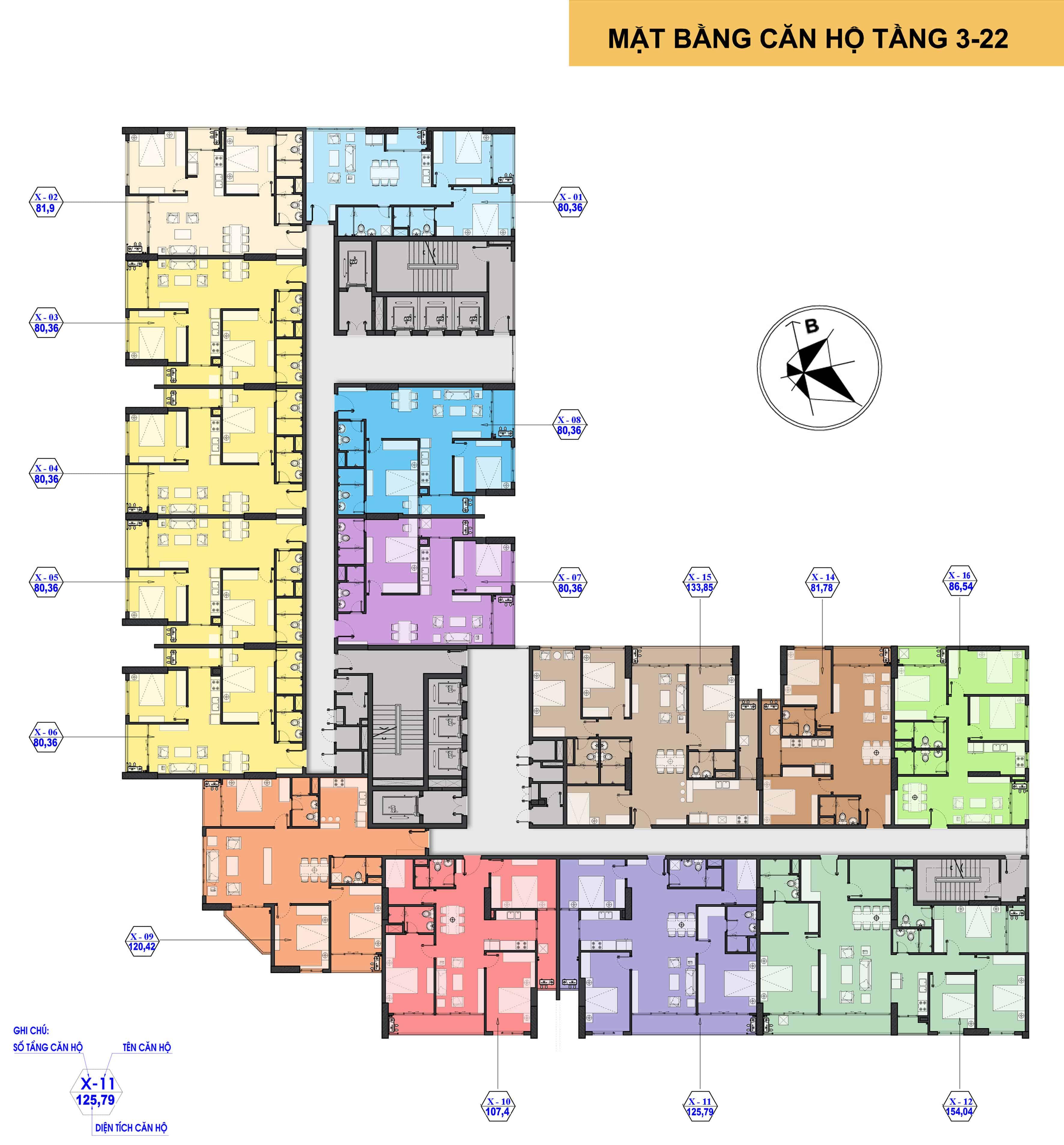 Mặt bằng The Park Home Handico 52 tầng 3 đến 22