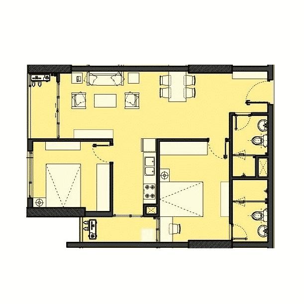 Căn hộ 2 phòng ngủ 80 - 86m2 Dự án The Park Home - Handico 52