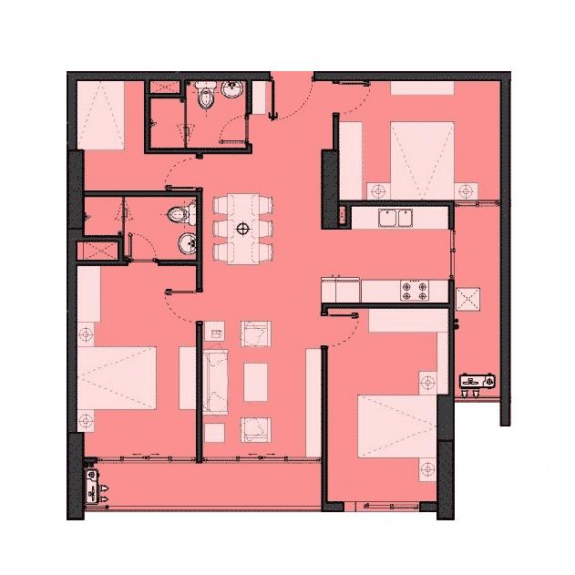 Căn hộ 3 phòng ngủ Dự án The Park Home - Handico 52