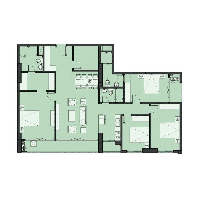 Căn hộ 4 phòng ngủ 154m2 Dự án The Park Home - Handico 52