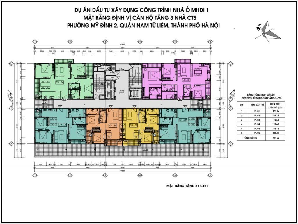 Mặt bằng Tầng 3 CT5 Dự án Chung cư CT5 CT6 Mỹ Đình MHDI Lê Đức Thọ