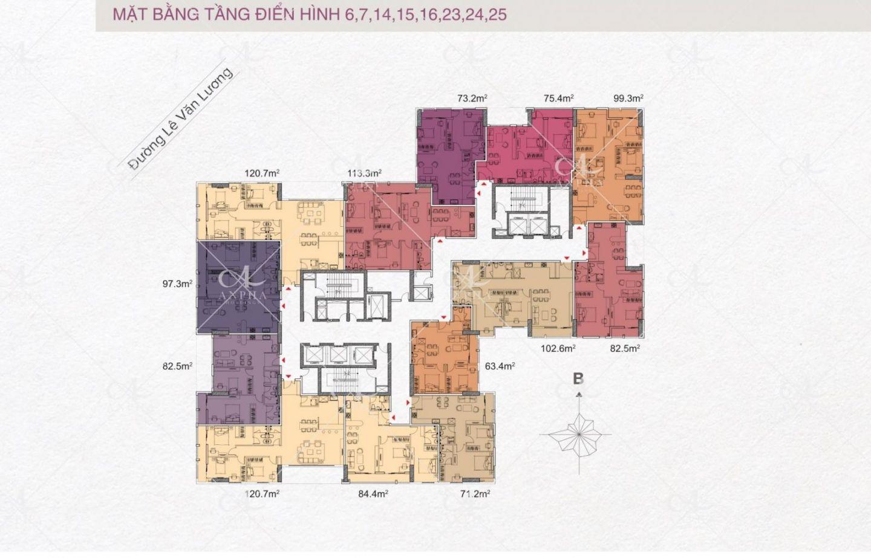 Mặt bằng điển hình Dự án Chung cư Goldsilk City Tố Hữu 1