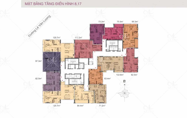 Mặt bằng điển hình Dự án Chung cư Goldsilk City Tố Hữu 2