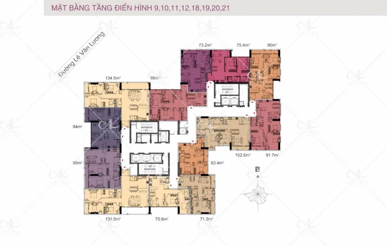 Mặt bằng điển hình Dự án Chung cư Goldsilk City Tố Hữu 3