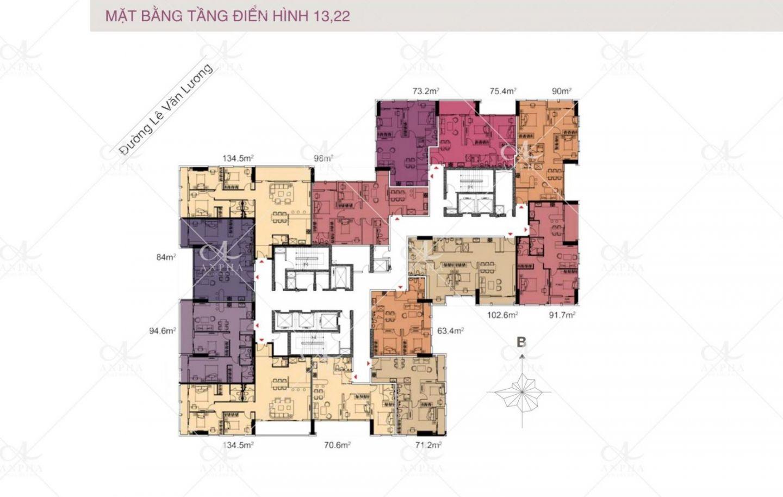 Mặt bằng điển hình Dự án Chung cư Goldsilk City Tố Hữu 4