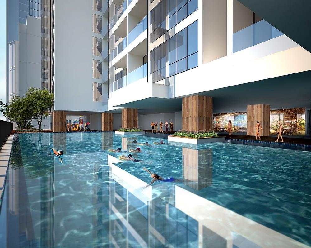 Tiện ích cao cấp Bể bơi ngoài trời Dự án Green Building 93 Láng Hạ