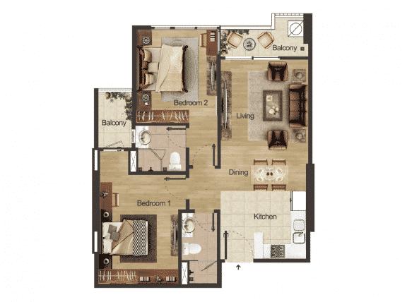 Căn hộ 2 phòng ngủ diện tích 60-90m2 Dự án Hacinco Đại Kim