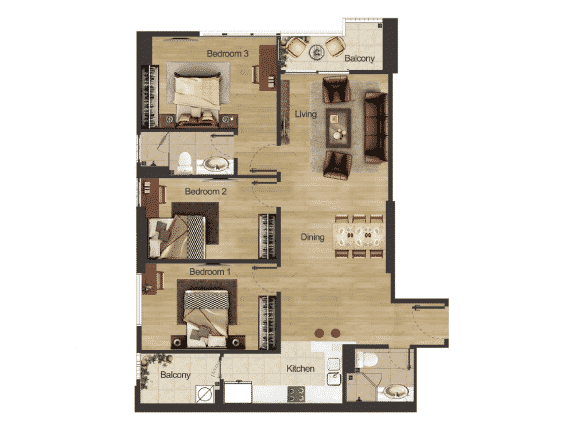 Căn hộ góc 3 phòng ngủ diện tích 120m2 Dự án Hacinco Đại Kim