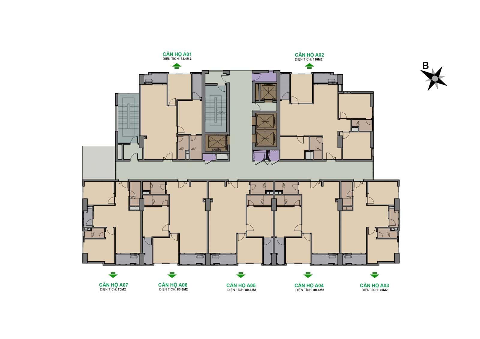 Dự án The Garden Hill 99 Trần Bình mặt bằng tầng 7-25