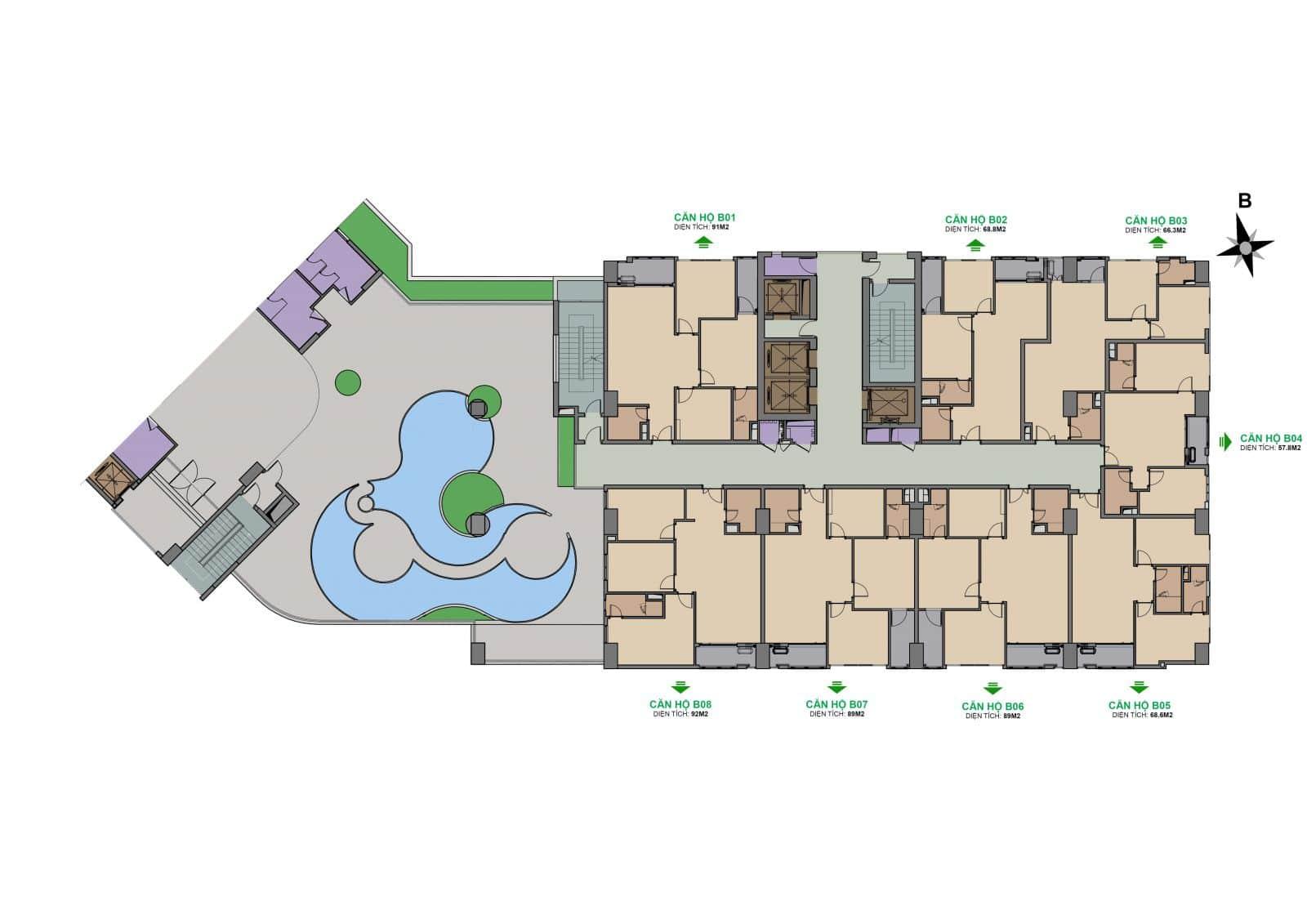 Dự án The Garden Hill 99 Trần Bình mặt bằng tòa B tầng 6