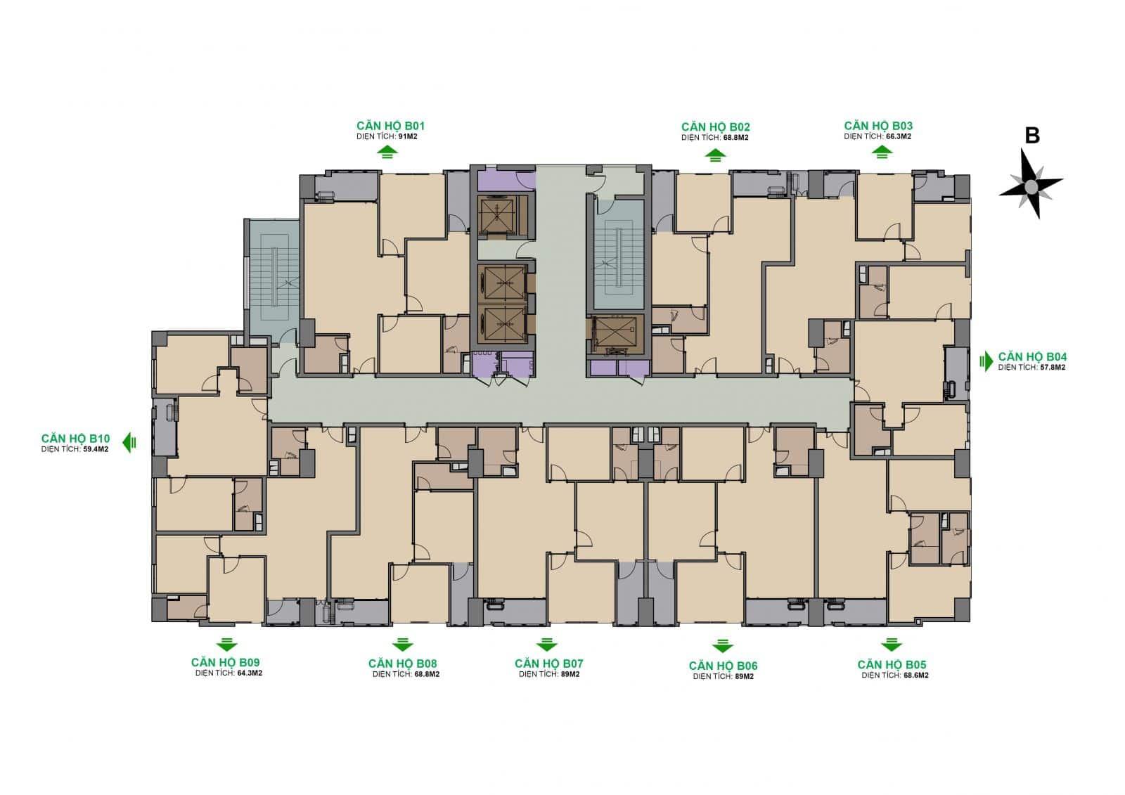 Dự án The Garden Hill 99 Trần Bình mặt bằng tòa B tầng 7-29