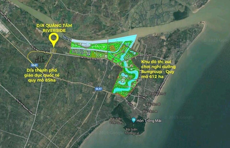 Dự án Quảng Tâm Quảng Phú sở hữu vị trí đắc địa mặt tiền đại lộ Nam Sông Mã