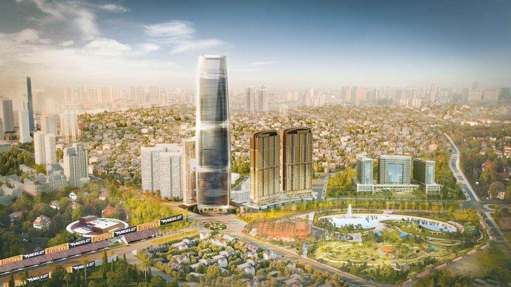 Chính diện Dự án The Matrix One với tháp 73 tầng và Chung cư The Matrix One