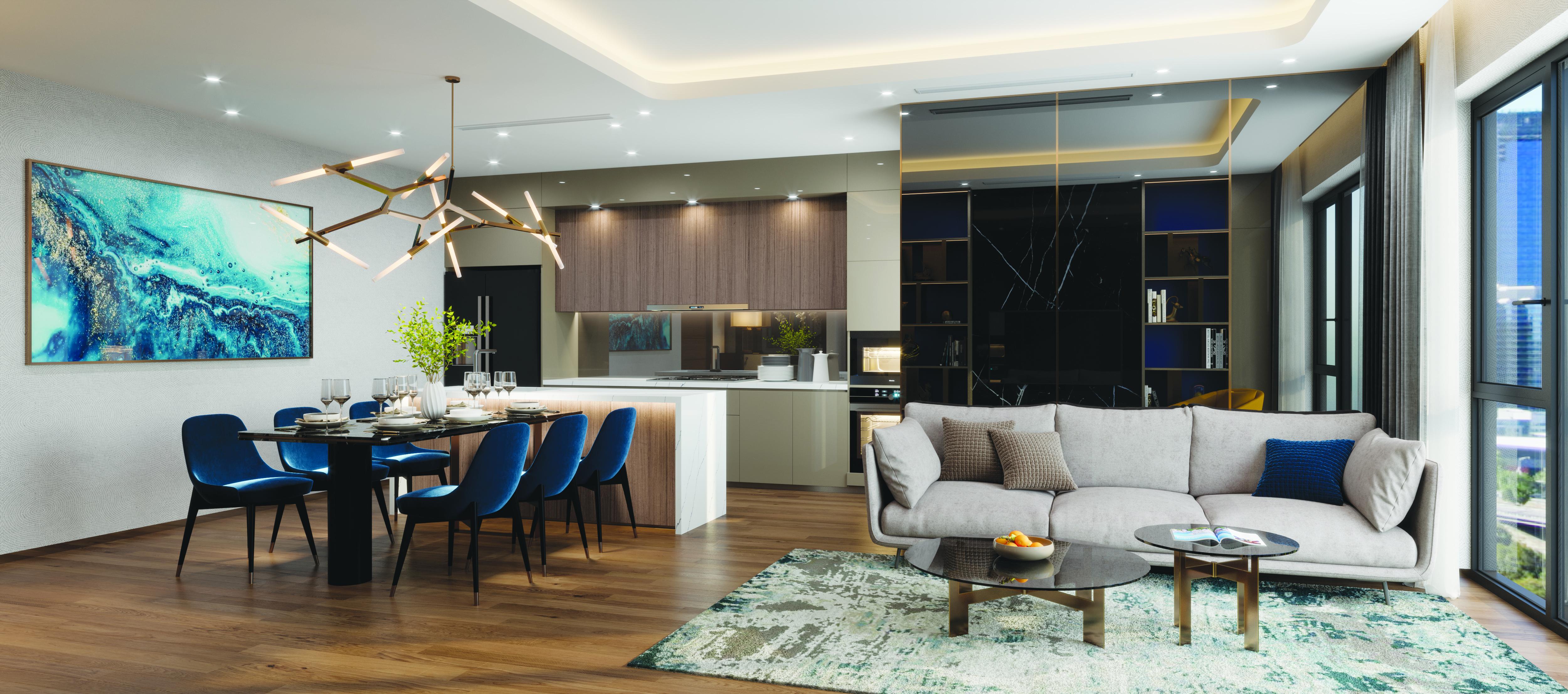 Không gian sinh hoạt chung: Phòng khách + bếp (đảo bếp) rộng hơn 40m2