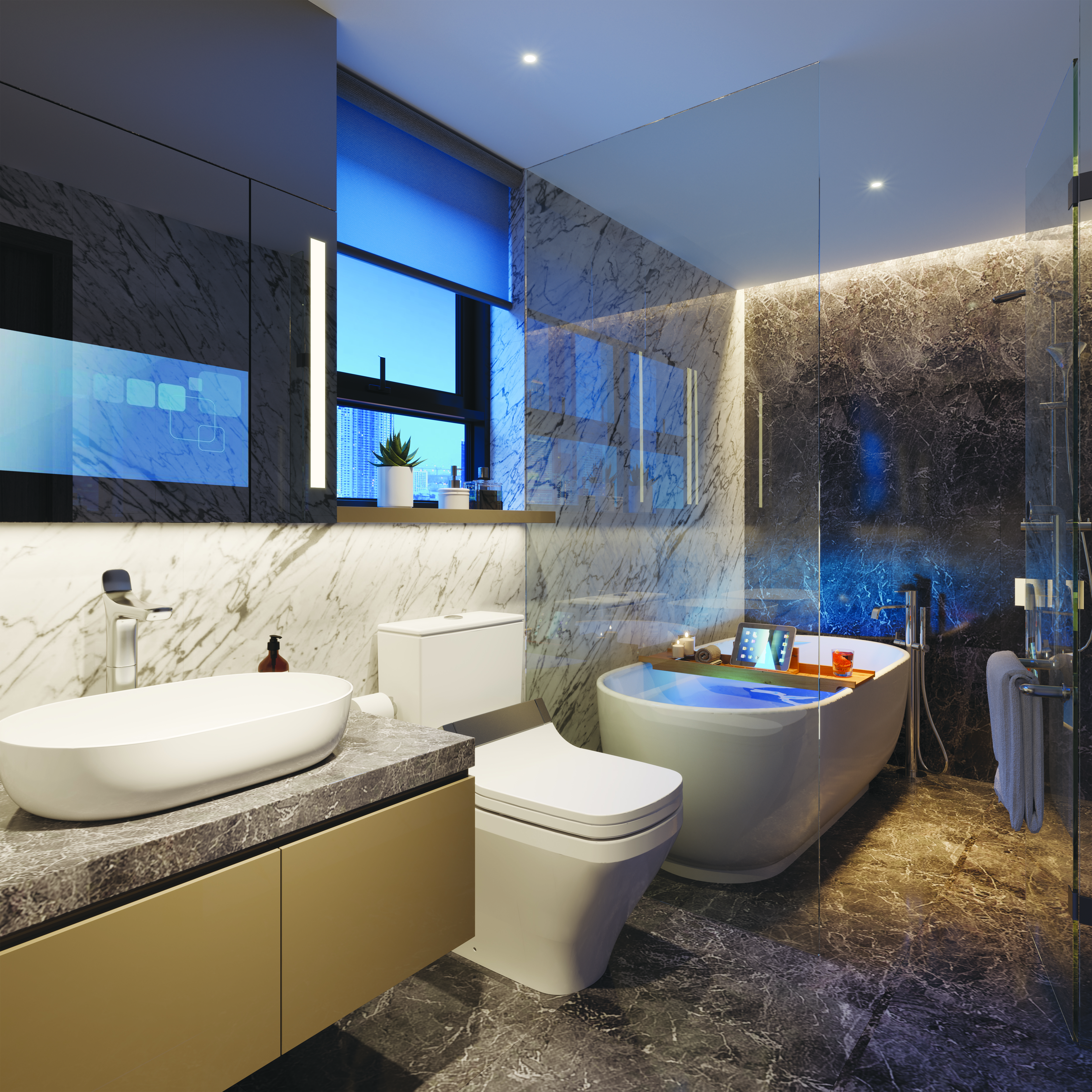 Phòng tắm trong phòng ngủ master căn 07 và 10