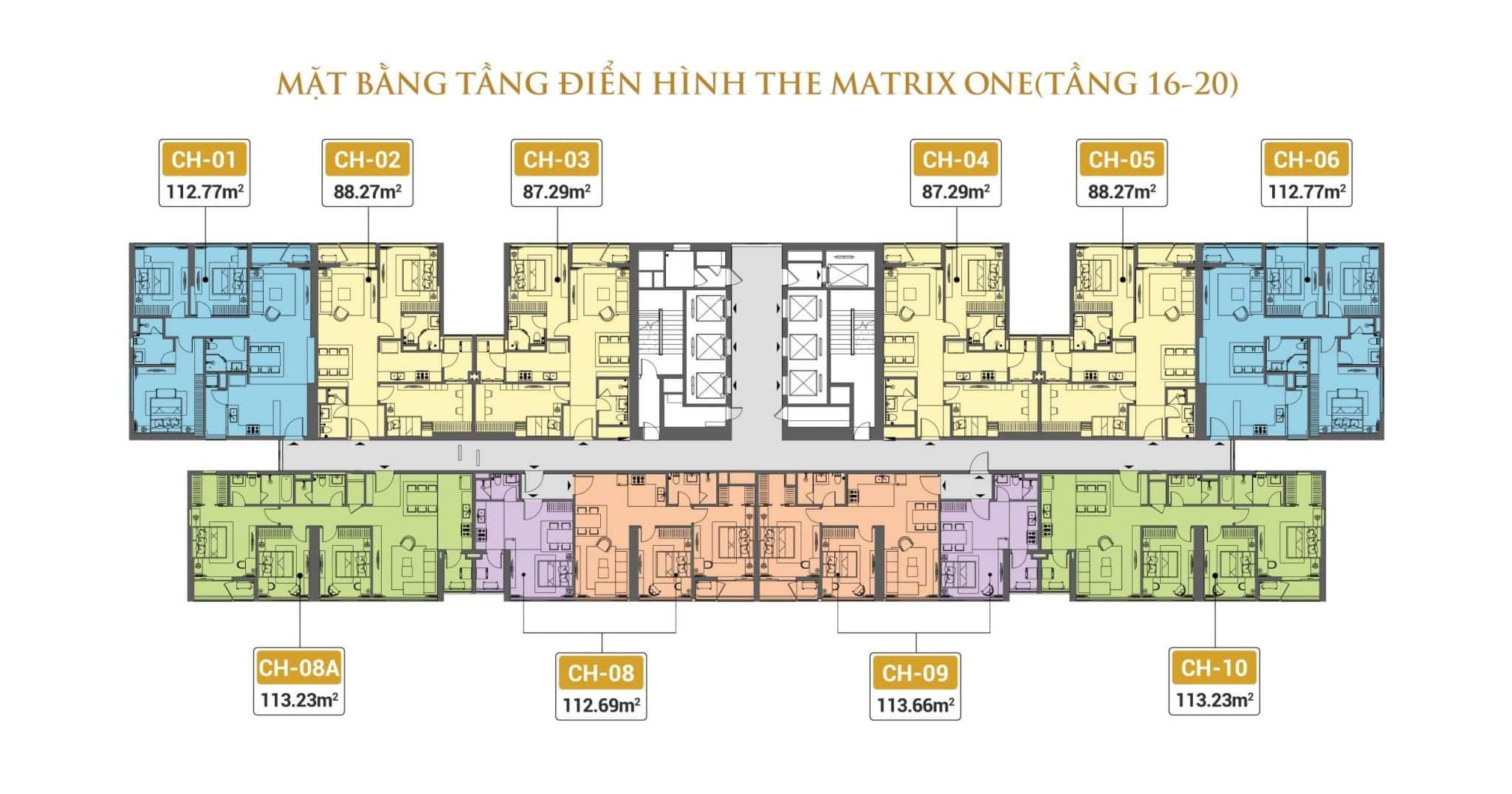 Mặt bằng tầng điển hình The Matrix One(Tầng 16-20)