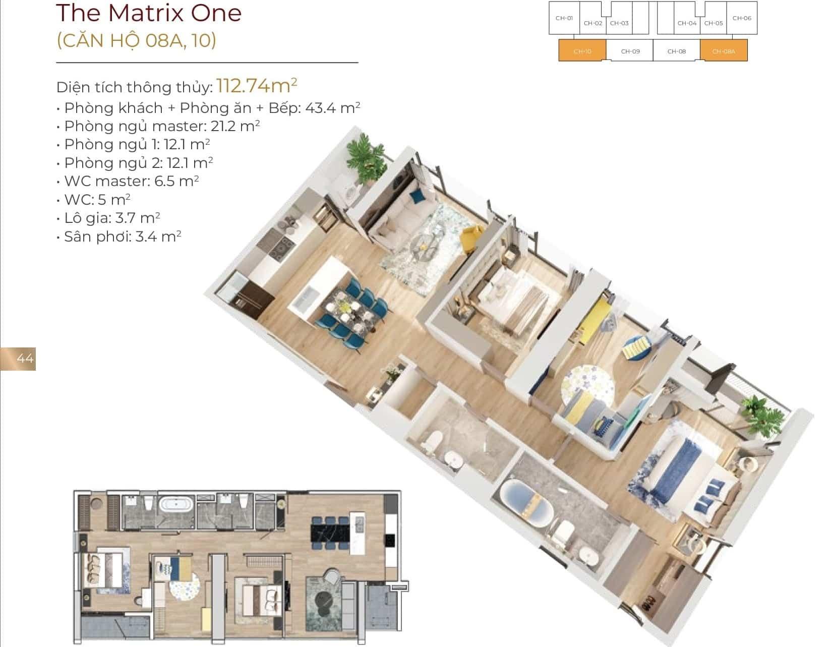 Thiết kế căn hộ 08A, 10
