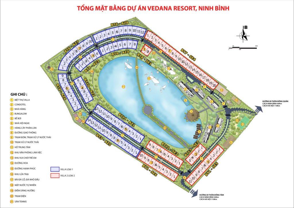 Mặt bằng phân lô sản phẩm Biệt thự Vedana Cúc Phương Resort Ninh Bình