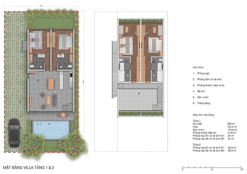 Mặt bằng Biệt thự Vedana Cúc Phương Resort tầng 1 và 2