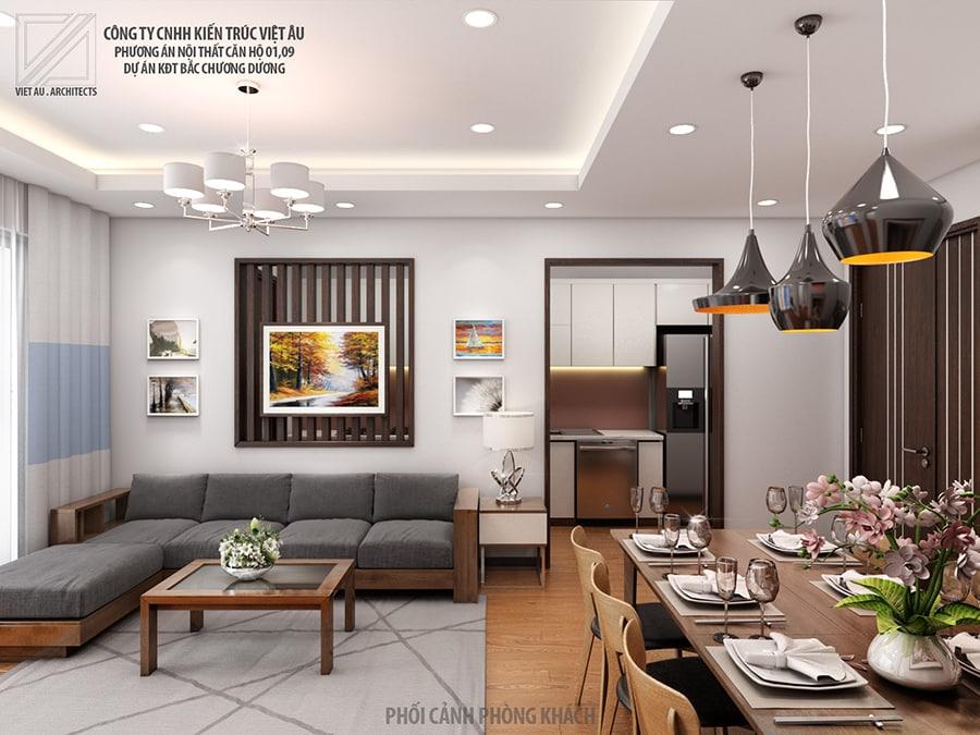 Nội thất phòng khách căn 01 và 09 Chung cư PHC Complex 158 Nguyễn Sơn