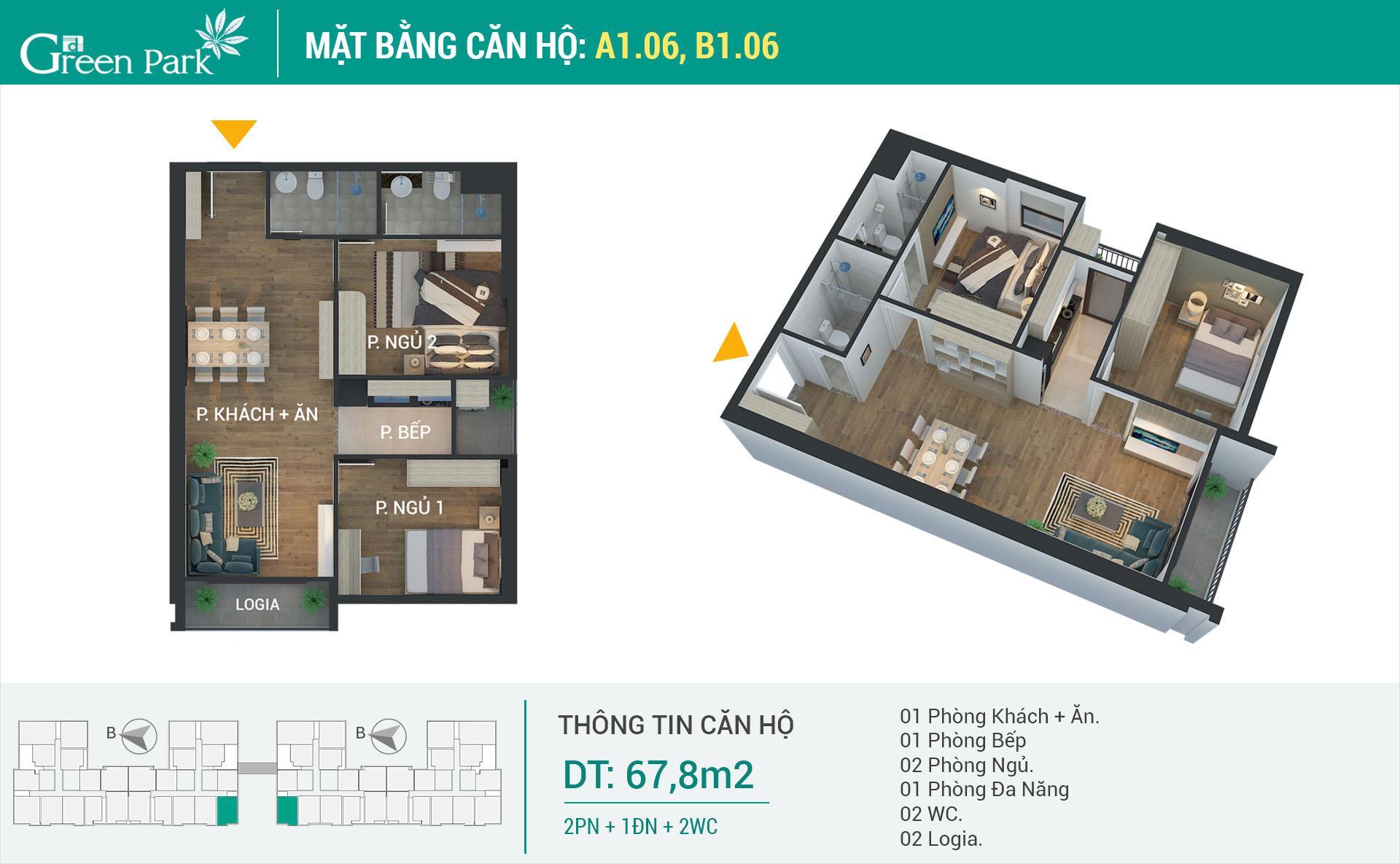 Căn số 06 tòa A1 và B1 là căn hộ 2 ngủ góc duy nhất, vị trí đẹp nhất, giá bán từ 1,9 tỷ
