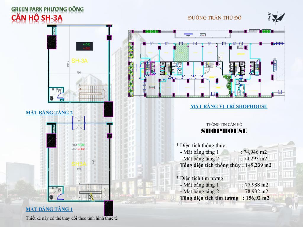 Chung cư Phương Đông Green Park số 1 Trần Thủ Độ shophouse SH-3A