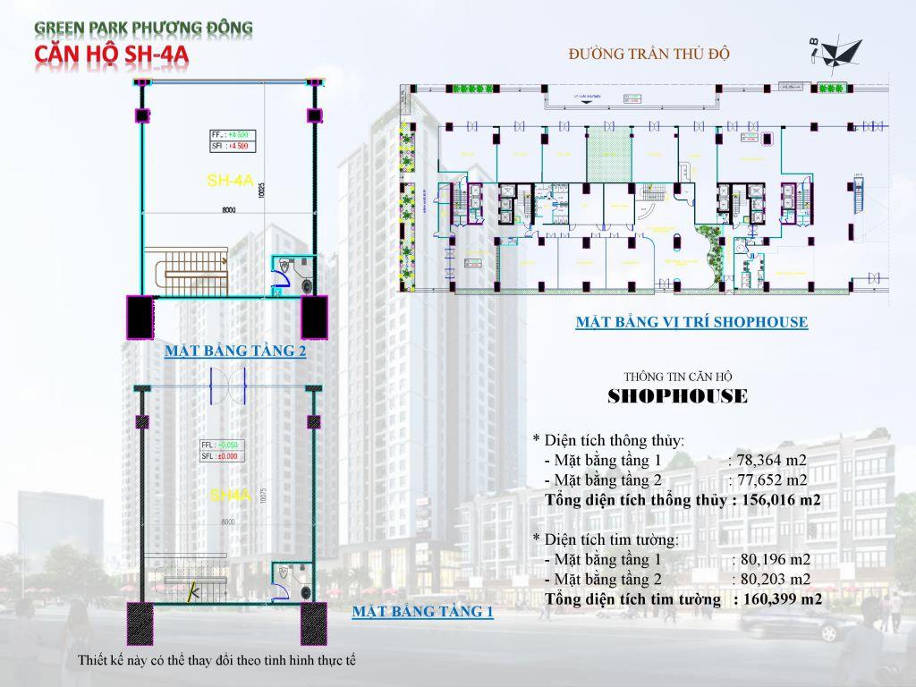 Chung cư Phương Đông Green Park số 1 Trần Thủ Độ shophouse SH-4A