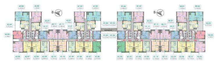Mặt bằng 4 tòa A1, A2, B1, B2 Dự án Phương Đông Green Park tháng 11 năm 2019