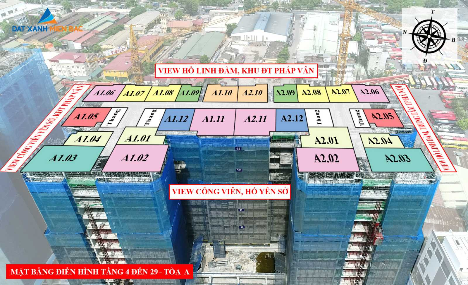 Vị trí và hướng view thực tế của căn hộ Dự án Phương Đông Trần Thủ Độ