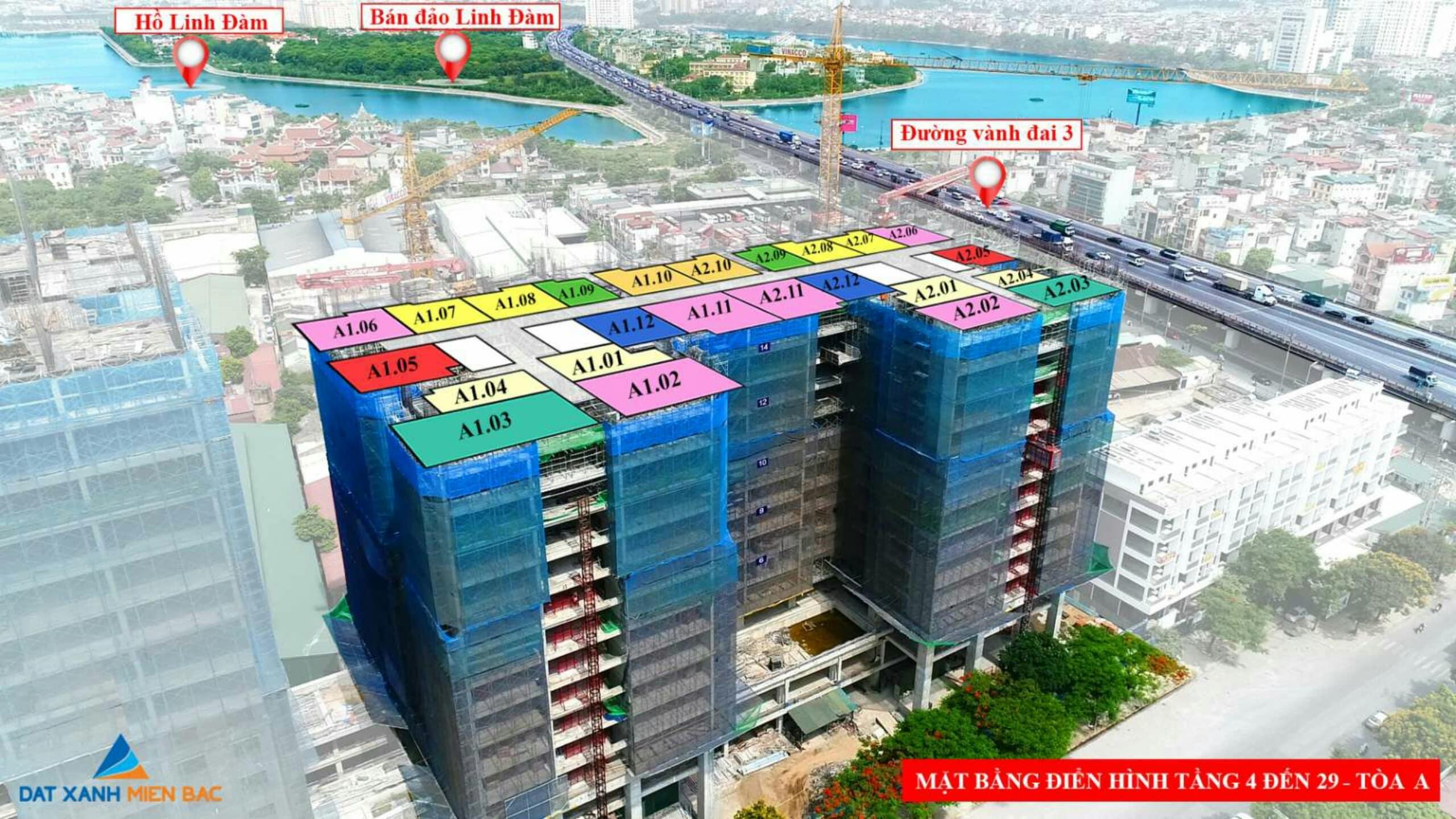 Tầm nhìn xa của tòa A1-A2 Chung cư Phương Đông Trần Thủ Độ