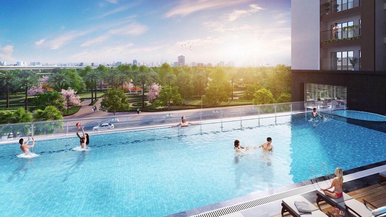 Bể bơi ngoài trời là tiện ích đẳng cấp nhất Dự án Green Park Trần Thủ Độ