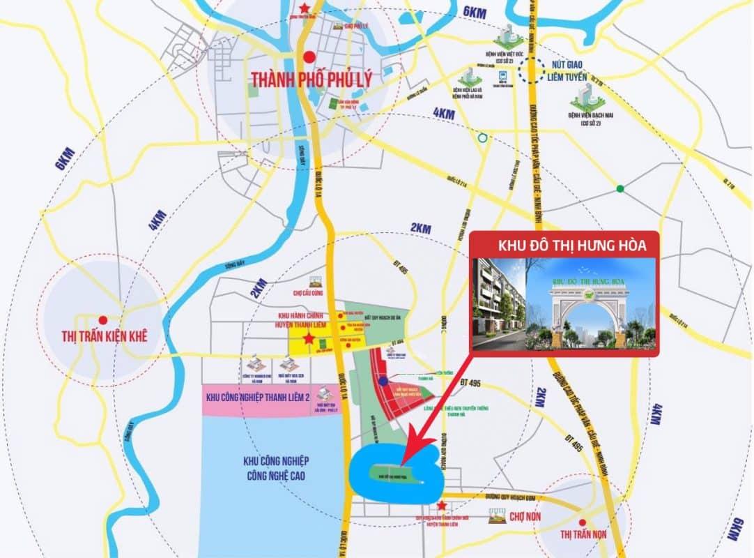 Vị trí Khu đô thị Hưng Hòa - Thanh Liêm, Hà Nam