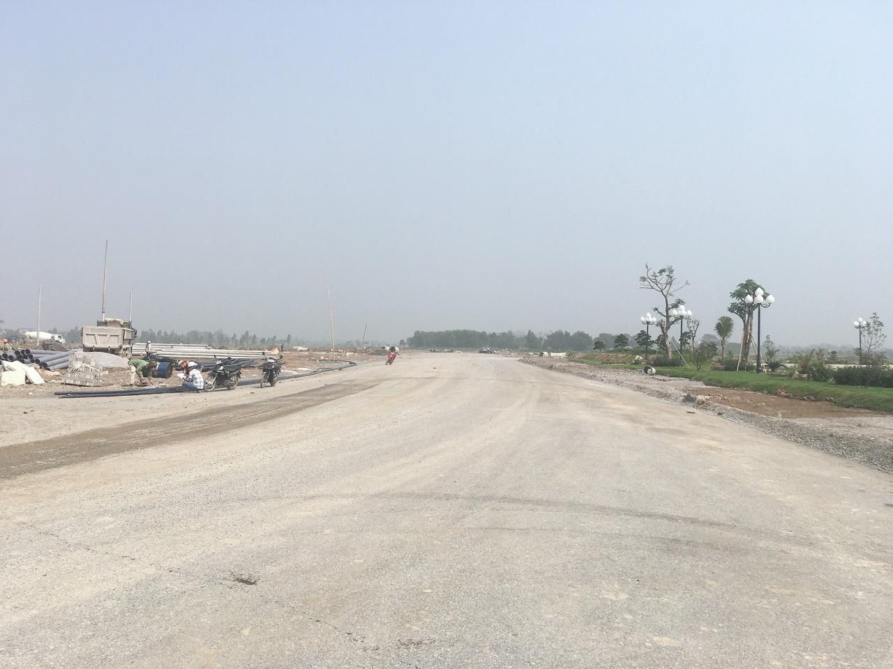 Đường trục chính KĐT Hưng Hòa Hà Nam đã thi công lớp base