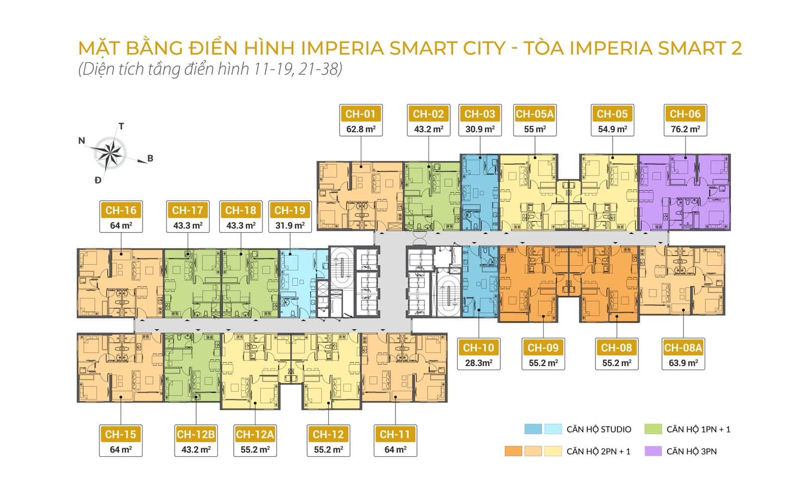 Mặt bằng Tòa Smart 2 Dự án MIK Imperia Smart City