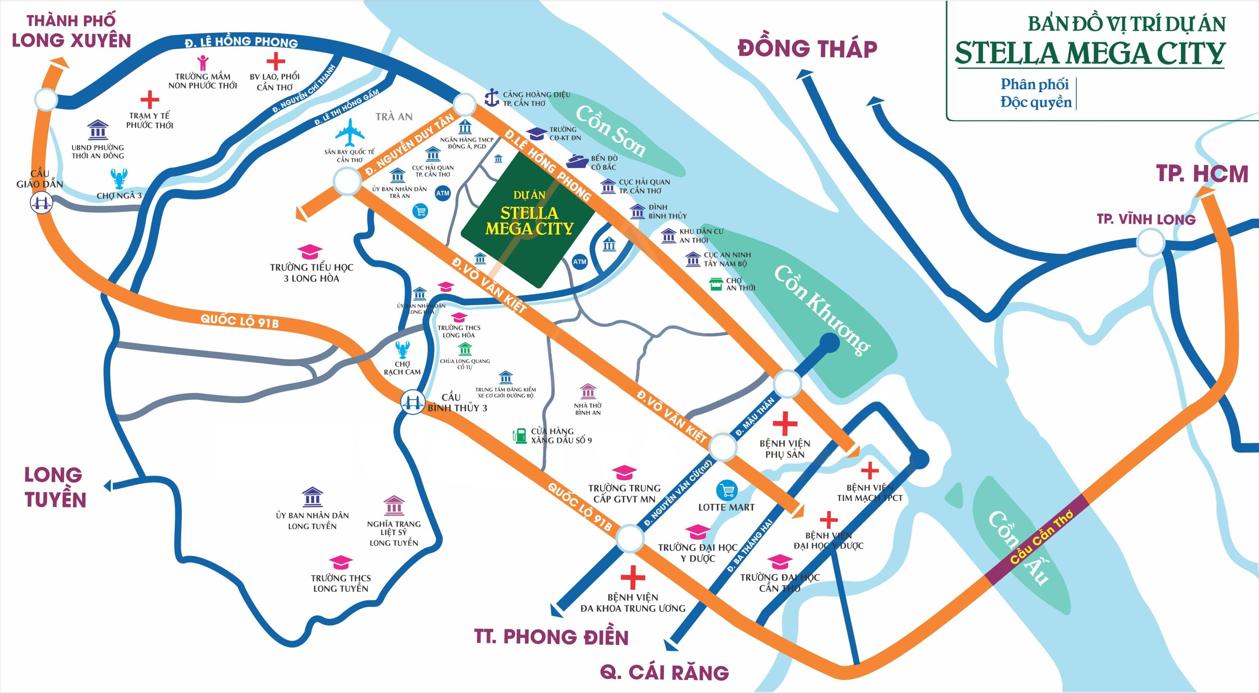 Vị trí Trung tâm đắc địa, minh đường tụ thủy Dự án Stella Mega City