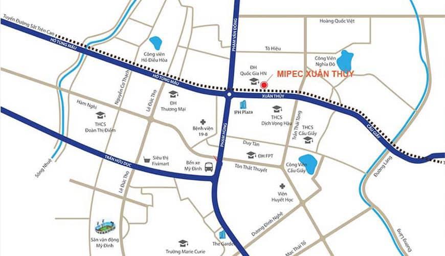 Vị trí Trung tâm quận Cầu Giấy Dự án Mipec Rubik 360 số 122, 124 Xuân Thủy
