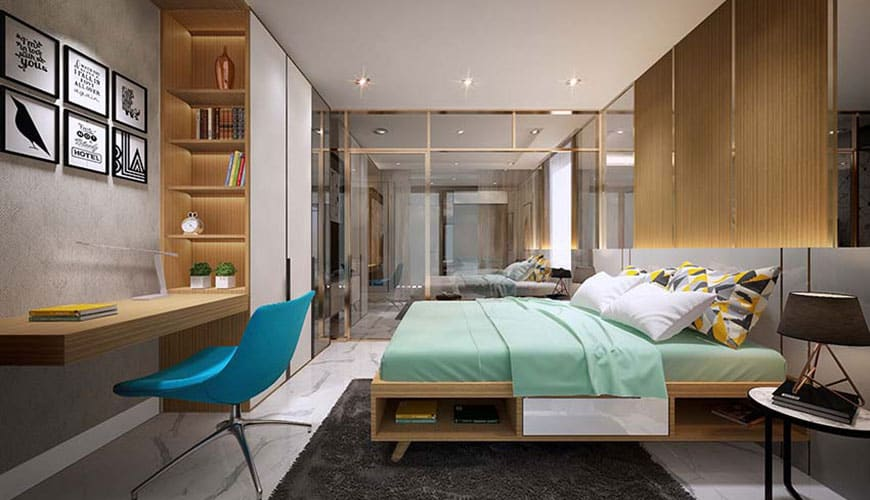 Minh họa nội thất Phòng ngủ Mipec Rubik 360 Xuân Thủy