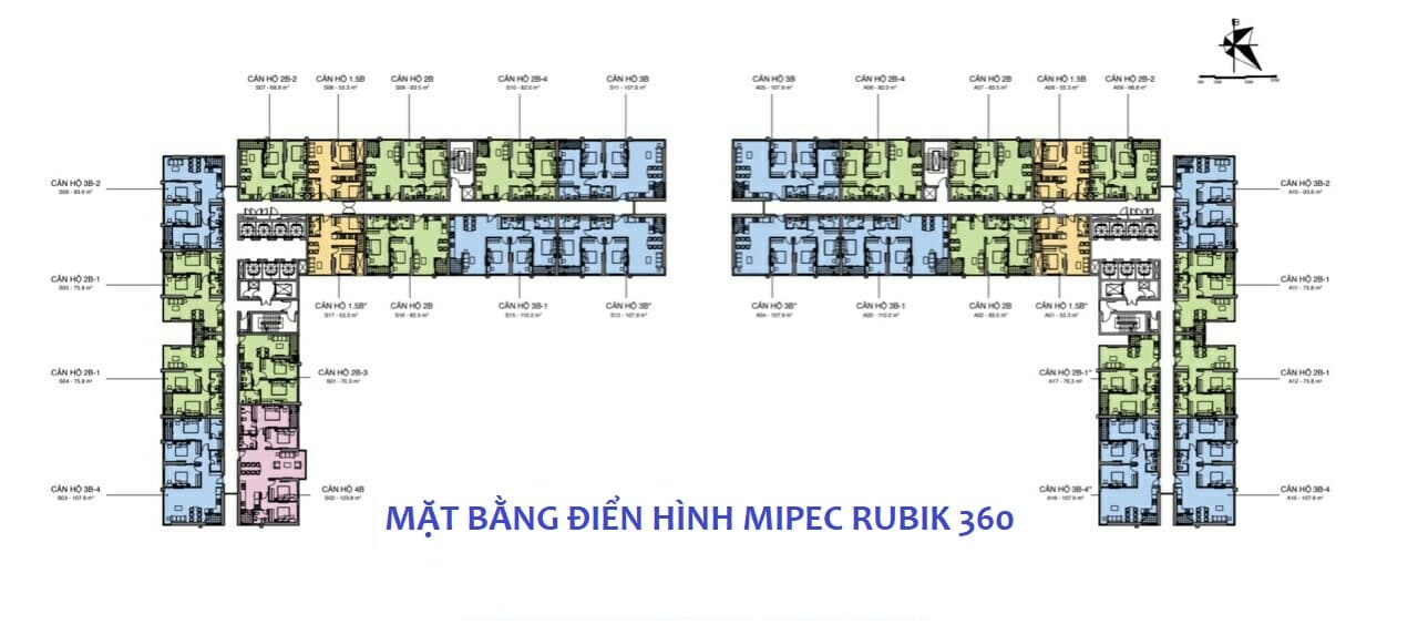 Mặt bằng Điển hình Dự án Mipec Rubik 360 Xuân Thủy