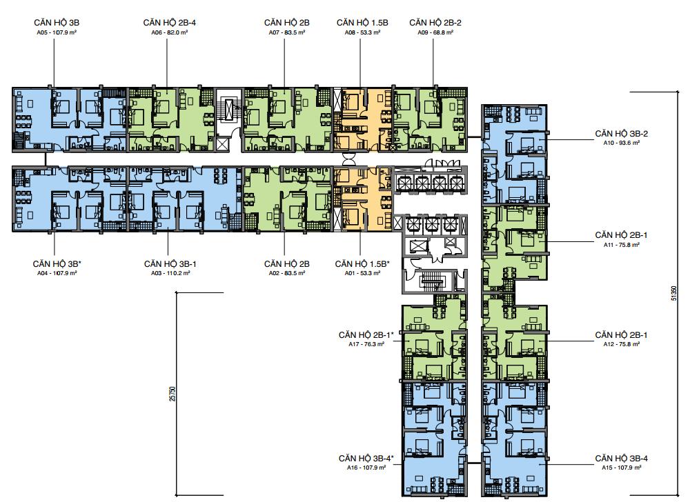 Mặt bằng Tháp A Dự án Mipec Rubik 360 Xuân Thủy cập nhật Tháng 12 năm 2019