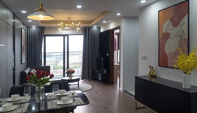 Phòng Khách căn hộ mẫu tòa B1 số 06 diện tích 67,8m2 full đồ Phương Đông Green Park