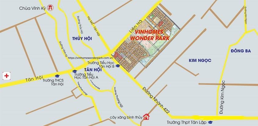 Vị trí cửa ngõ Tây Bắc thủ đô của Vinhomes Wonder Park Đan Phượng