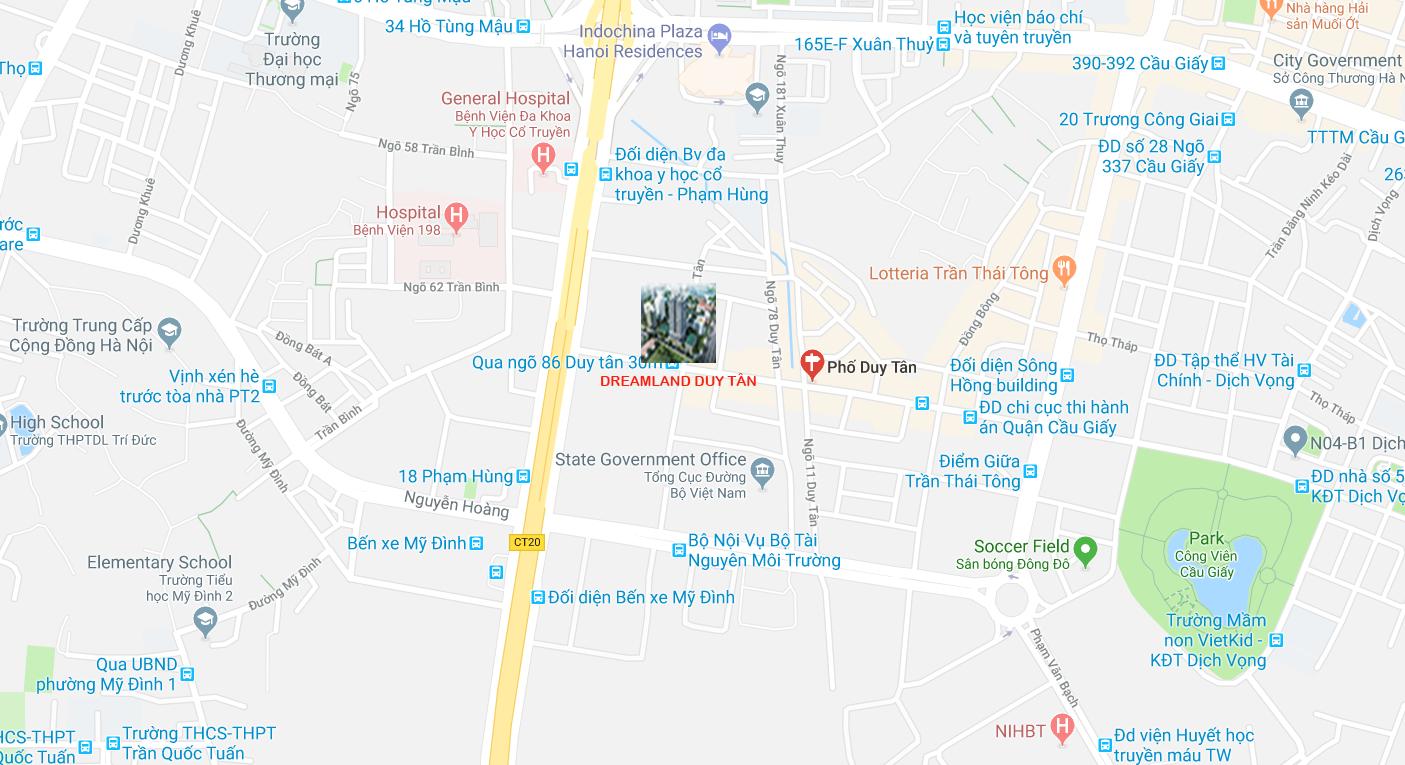 Vị trí Trung tâm Cầu Giấy của Dự án Chung cư Dreamland Bonanza 23 Duy Tân