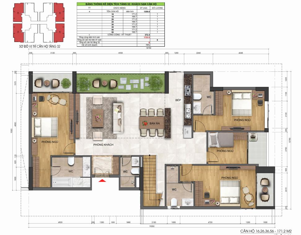 Mặt bằng Tầng 1 căn hộ Penthouse Dự án Chung cư Dreamland Bonanza