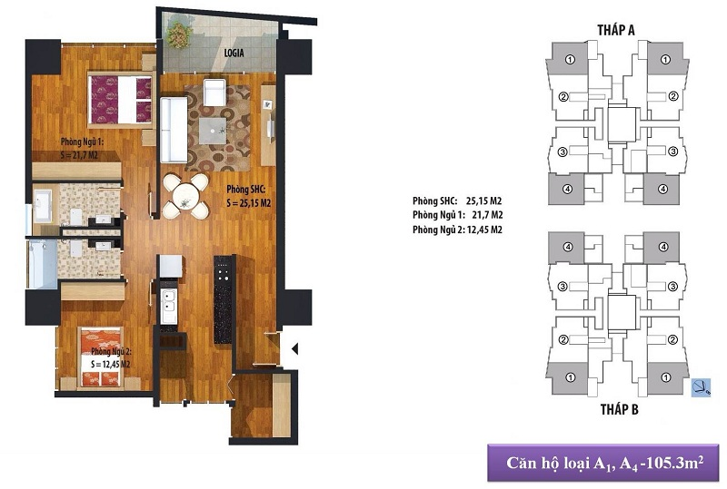 Thiết kế căn hộ A1, A4 105m2 Dự án Chung cư New Skyline Văn Quán