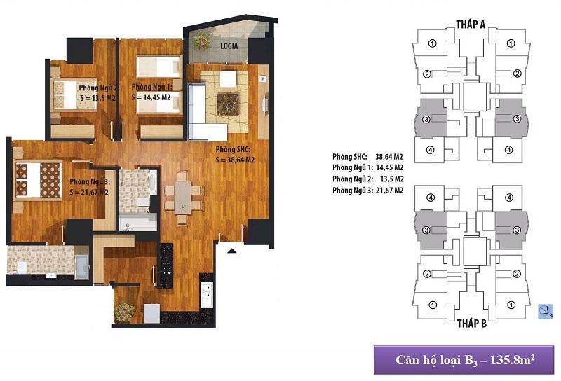 Thiết kế căn hộ B1 136m2 Dự án Chung cư New Skyline Văn Quán