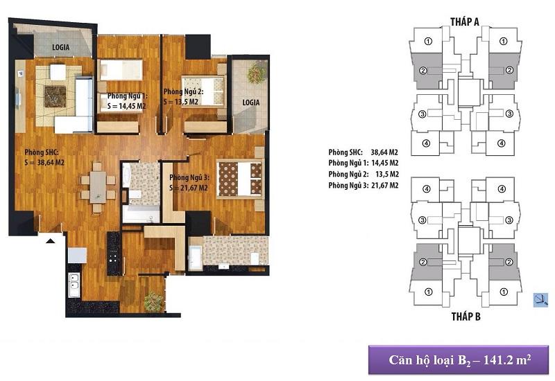 Thiết kế căn hộ B2 141 m2 Dự án Chung cư New Skyline Văn Quán