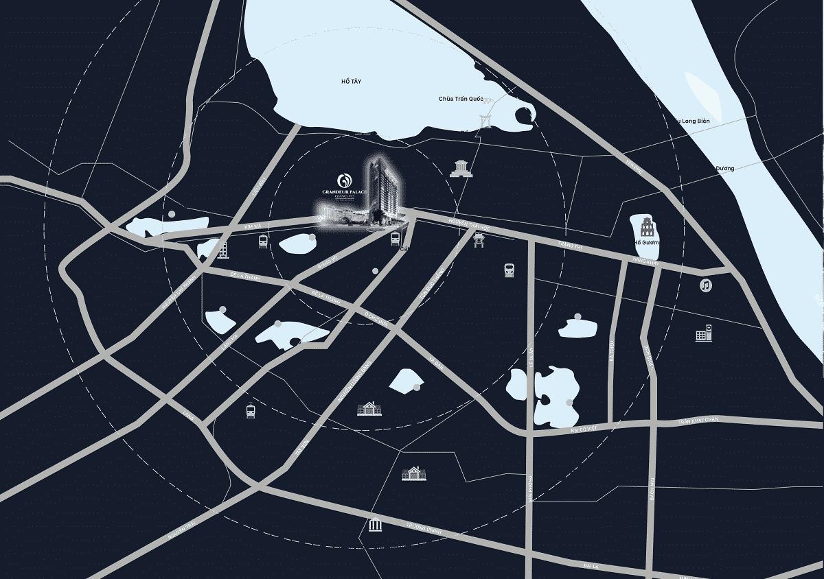 Vị trí Trung tâm của Trung tâm Dự án Grandeur Palace 138B Giảng Võ